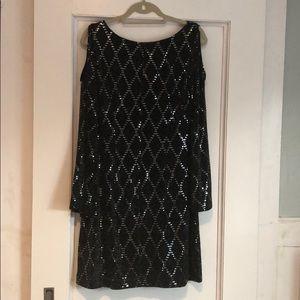 Eliza J sequin cold shoulder black cocktail dress